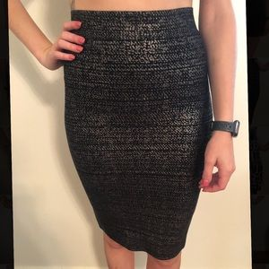 Bcbg maxazria metallic bandage skirt